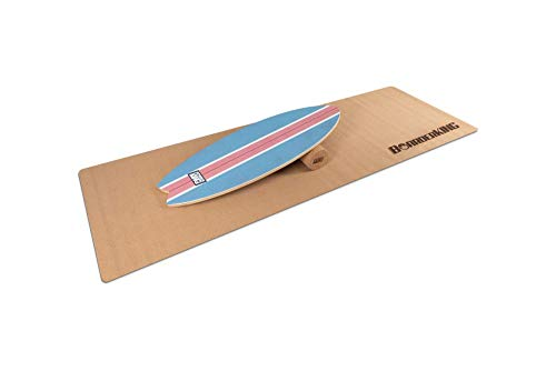 Indoorboard WAVE Set Balance Board Skateboard Surfboard Balanceboard (Blue, 100 mm (Korkrolle))