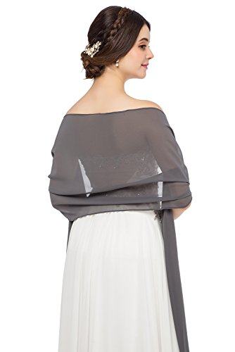 JAEDEN Chiffon Stola Schal für Brautkleider Abendkleider Alltagskleidung in Verschiedenen Farben 45cmx220cm Grey
