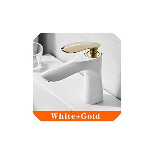 Waschtischarmaturen Badezimmer-Hahn-warme und kaltes Wasser-Bassin-Mischer-Hahn-Chrom-Finish Messing WC-Waschbecken, Weiß und Gold (Delta Bronze-badewanne Drain)