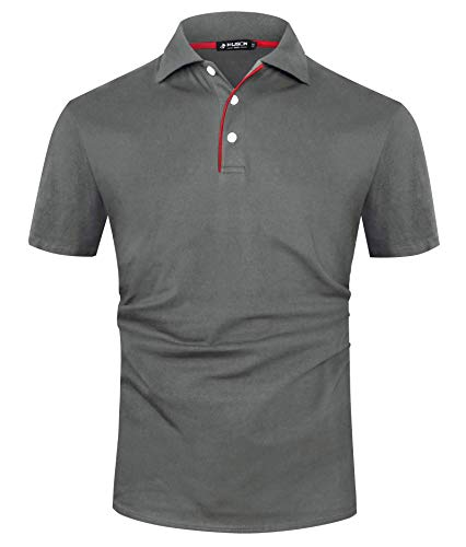 Kuson Herren Poloshirt Kurzarm Patchwork Sommer T-Shirt Men's Polo Shirt Baumwolle (S, Dunkelgrau)
