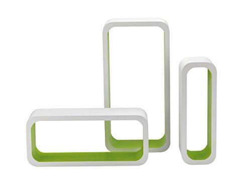 King home m1105004/b set 3 pezzi mensola rettangolare stondata in mdf bicolore, bianco/verde, 40x10x20h 35x10x15h 30x10x10h