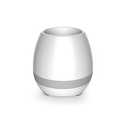 Musique Pot de Fleurs,Vicksongs LED Coloré Lumière de Nuit Pot de Fleurs Smart Touch Bluetooth Haut-parleur Rechargeable,Cadeau Créatif pour Bureau Chambre à Coucher et Salle de Séjour(Blanc)