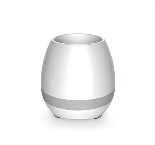 Vicksongs Smart Music Flowerpot,Música Flower-Pot LED Colorido Luz Nocturna Altavoz Bluetooth Inalámbrico Recargable Smart Táctil Planta-pot Touch Sensor para el Festival,Cumpleaños Presenta(Blanco)