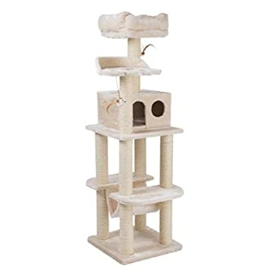Extremely Sturdy 4 Layer Cat Tree With Several Platforms, Spacious Sleeping Bed And Play Den - Ideal Activity Tower For Multiple Cats