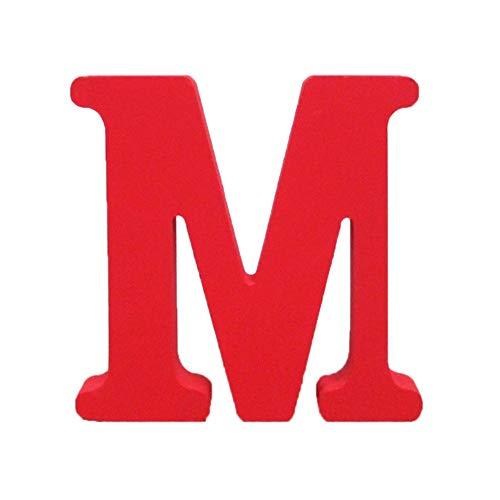 Holzbuchstabe Buchstabe, Toifucos A-Z DIY Englisch Alphabet Holz Buchstaben Handwerk Ornamente für Zuhause Hochzeit Geburtstagsfeier Dekoration Zubehör, Rot 1 pcs M