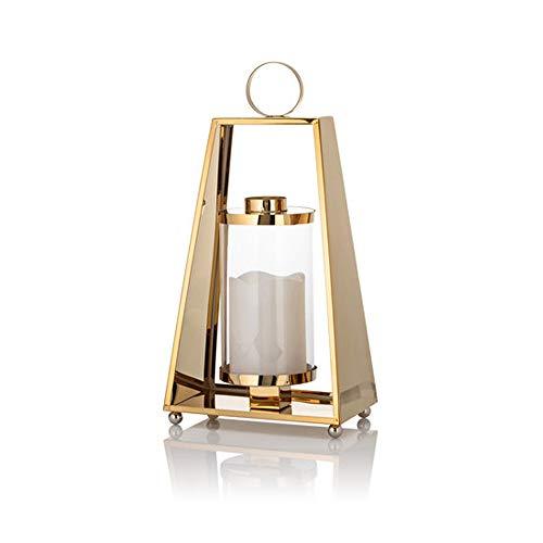Edelstahl Laterne in Gold mit LED Echtwachskerze inkl. Flammeneffekt und Timer