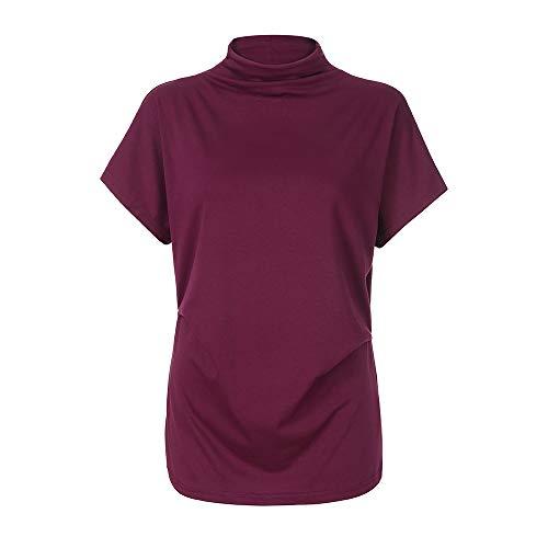 Igemy Damen Baumwollbluse Rollkragen Kurzarm Top Plus Size T-Shirt -