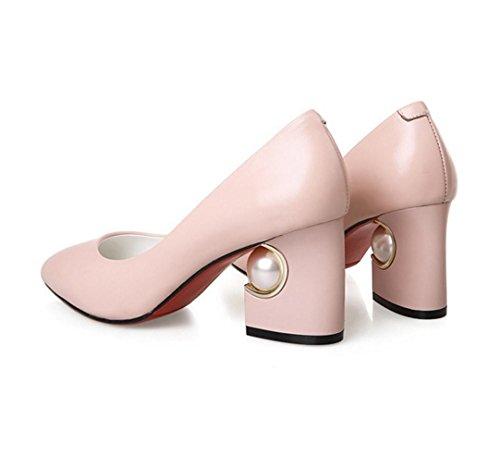 WZG Neue Art und Weise flacher Mund starke Ferse Schuhe förmige Perle mit Schuhen Pink