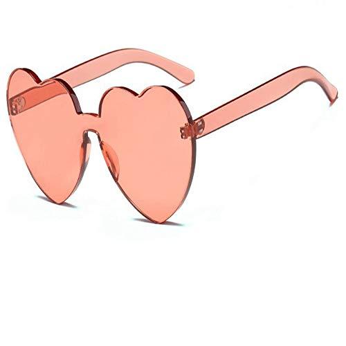 WANGKEAI Liebe Sonnenbrille Weibliche Randlose Gläser Weibliche Lolita Herzförmige Gläser Damen Brille Herz Sonnenbrille, 6