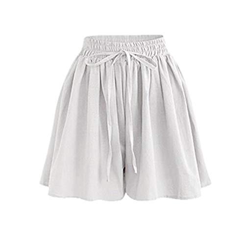 WFDDSD Shorts Frauen Beiläufige Lose Culotte Shorts Plus Größe Plus Größe Seil Krawatte Shorts Yoga Sport Hosen Leggings Sexy Casual Gym Hosen Weiß 2XL