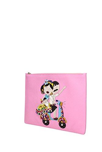 "Borse a Mano Dolce&Gabbana "" patch d&g family "" Donna - Pelle (BI2182AI068) Rosa"