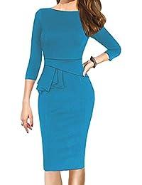 Vestido de Fiesta Mujer SUNNSEAN Vestido Vintage Elegante Color Puro Sexy Cuello Trabajo Vestidos Negocios Ajustado Oficina Fiesta Mujeres Vestido Slim Fit de Moda Vestido hasta la Rodilla