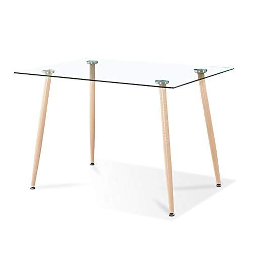 Adec - Liam, Mesa de Comedor, Mesa Salon Fija de Cristal Patas Color Oak, Medidas:120 x 80 x 75 cm de Alto