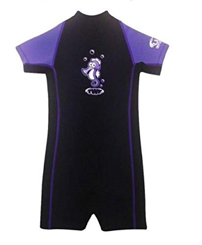 TWF Kinder Shorty Neoprenanzug Kurzärmelig Kinder Jungen Mädchen UV Badeanzug Wetter Schutz Neoprenanzug - Lila Seepferdchen Taucheranzug, UK 5-6 Years