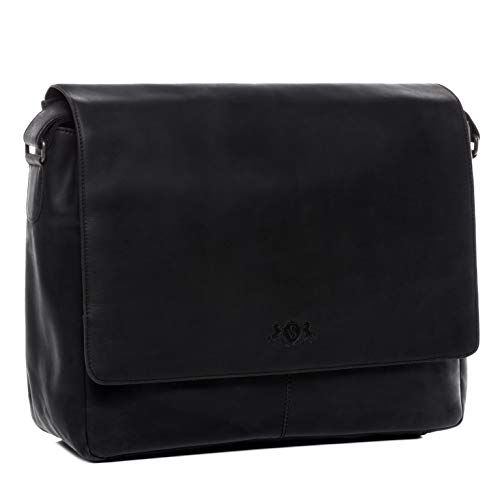 "SID & VAIN Laptop Messenger Bag echt Leder Spencer XL groß Businesstasche 15"" Laptoptasche Umhängetasche Laptopfach Ledertasche Herren schwarz"