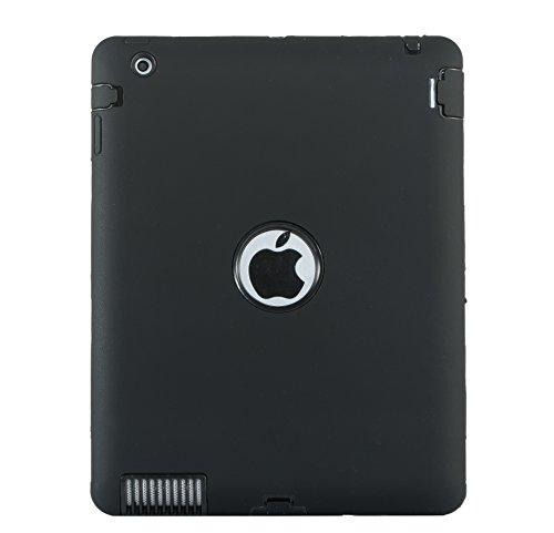 iPad 4Case, iPad 3Case, iPad 2, uzer (Heavy Duty stoßfest Anti-Rutsch Silikon High Impact Resistant Hybrid Drei Schicht Hard PC + Silikon Armor Schutzhülle für iPad 2/3/4 Schwarz/Schwarz