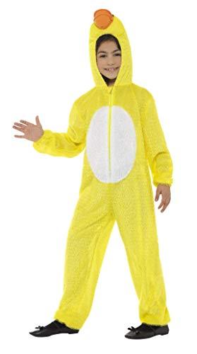 Smiffys 48189 - Kinder Unisex Enten Kostüm, Ganzkörper Anzug mit Kapuze, One Size, gelb (Ente Mädchen Kostüm)