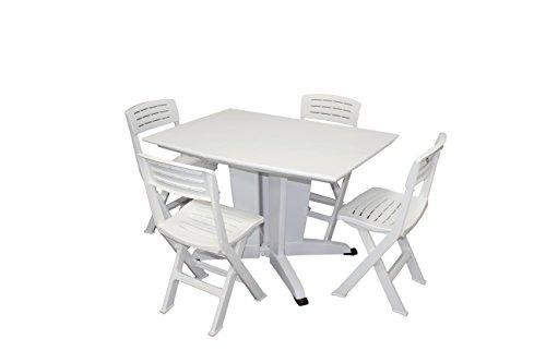 Shaf Fiji Set Plegable Para Balcón/Jardín, Blanco 94x68x60 cm