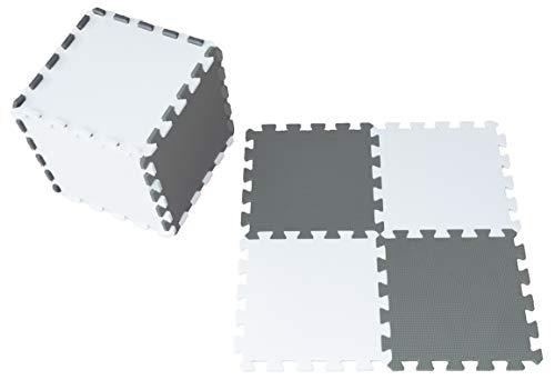 Happykiddoos Puzzlespielmatte Foam Matte. Spielmatte Schaumstoff Verriegelung Puzzle Kinderteppich. Jede Matte hat eine Größe von 30x30cm und ist 1 cm dick (Keine Figur, Grau/weiß)
