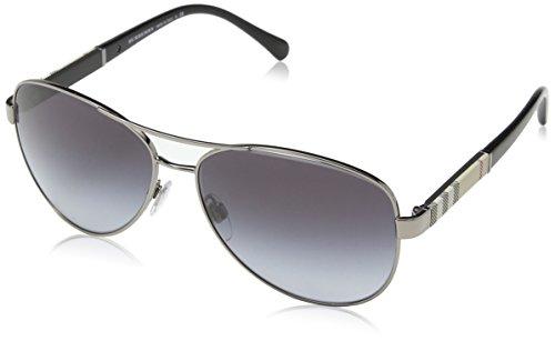 Von Herren Sonnenbrille Für Burberry (BURBERRY Unisex Sonnenbrille BE3080, Grau (Gestell: Gunmetal, Gläser: Grau-Verlauf 10038G), Large (Herstellergröße: 59))