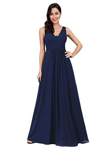 Ever-pretty abito da damigella donna linea ad a scollo a v chiffon stile impero lungo blu navy 48