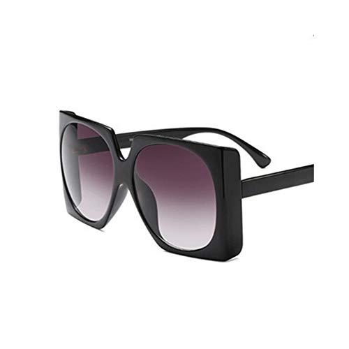 Quadratische Sonnenbrille Übergroßer Großer Rahmen Vintage Frauen Markendesigner Luxus New Fashion Trendy Beliebte Sonnenbrille UV400 (Lenses Color : C2 Black.Grey)