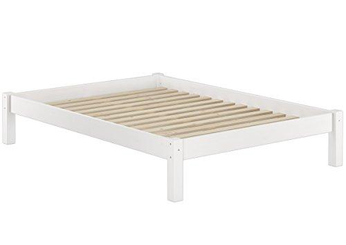 Erst-Holz® Weißes Bettgestell Kiefer Doppelbett 140x200 Massivholzbettgestell mit Rollrost 60.35-14 W