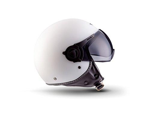Moto Helmets H44 Matt White · Chopper Scooter-Helm Biker Bobber Jet-Helm Roller-Helm Helmet Vintage Vespa-Helm Mofa Cruiser Retro Moto Helmetsrrad-Helm Pilot · ECE zertifiziert · inkl. Sonnenvisier · inkl. Stofftragetasche · Weiß · XL (61-62cm)