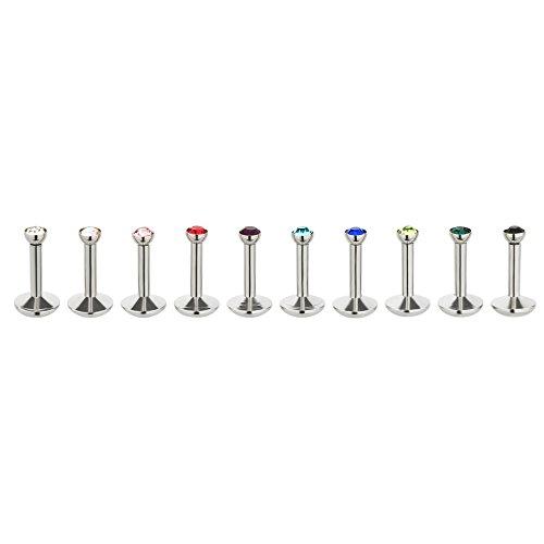 Sl- argento set di 10 piercing labbro trago piercing 10 colori 2 misure, acciaio inossidabile, cod. lippe162