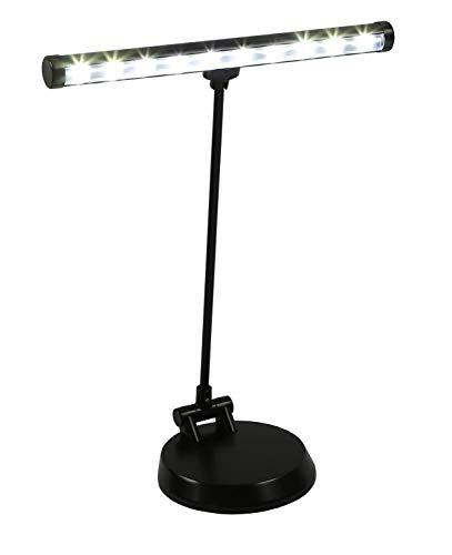 Alneo Light Sunlight Lampe de Piano / Lampe de Bureau LED avec 10 Power LED - Batterie, fonctionnement USB or sur secteur - plaque de fond rigide modifiée - complètement pivotante vers l'avant (Coloris Noir mat)