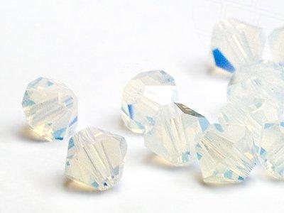 Glasperlen zum Auffädeln von Swarovski Elements Doppelkegel  4mm  (White Opal), 96 Stück