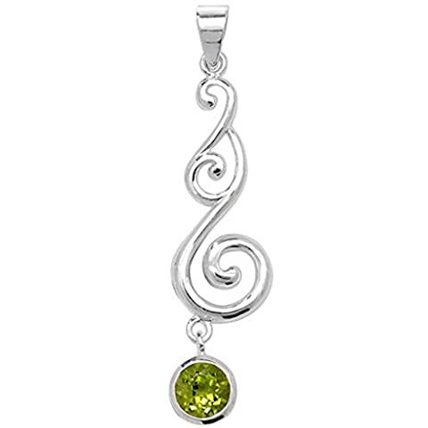 Sterling Silver Peridot Celtic Pendant On A 30 Inch Snake Necklace
