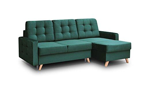 Ecksofa Sofa Eckcouch Couch mit Schlaffunktion und Bettkasten Ottomane L-Form Schlafsofa Bettsofa Polstergarnitur - CARLA (Ecksofa Rechts, Dunkelgrün)