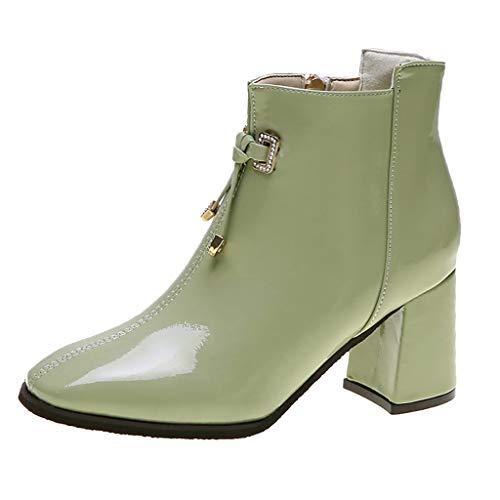 Sanahy Bottines Cuir Talons Femmes, Bottes en Cuir Chaussures de Ville Hiver à Talons Hauts Confortable Boots Montantes Bout Pointu Avec Semelles Conforts -