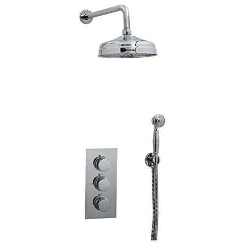 ENKI Unterputz-Duscharmatur Thermostat Rund 3 Wand Kopfbrause Handbrause Classic -
