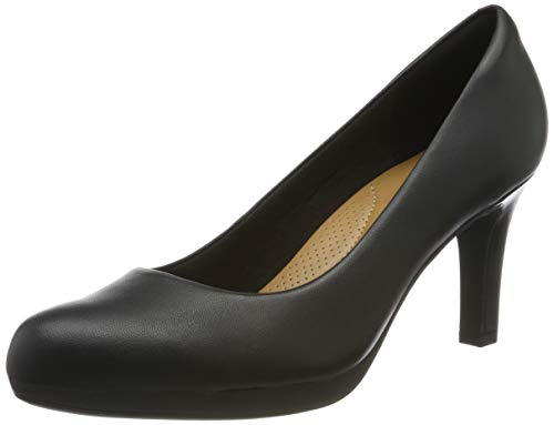 Clarks Adriel Viola, Scarpe con Tacco Donna, Nero (Black Leather-), 38 EU