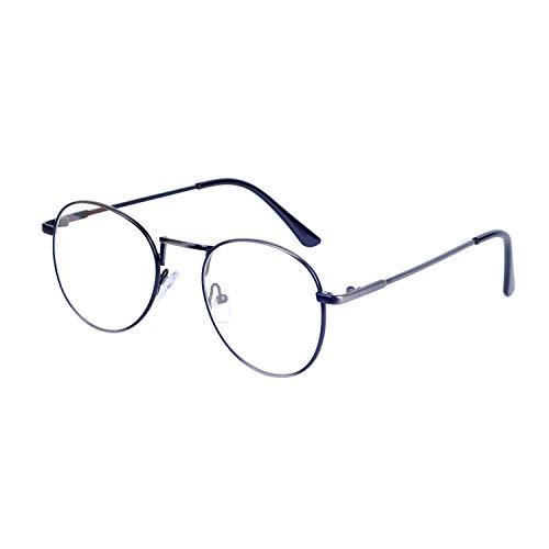 JoXiGo Retro Rund Brille für Damen und Herren Ohne Stärke Klassische Nerdbrille Metallgestell...