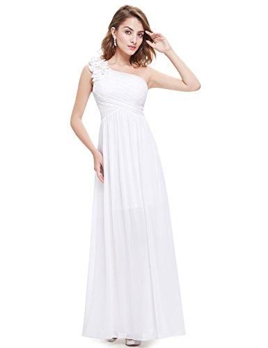 Ever Pretty Damen One Shoulder Blumen Lang Chiffonkleid Abendkleider 40 Größe Weiß