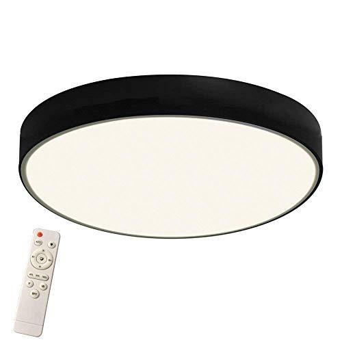 MCTECH LED Deckenleuchte Rund 48W Dimmbar Deckenlampe LED Badlampe Küchenlicht für Kinderzimmer, Schlafzimmer, Flur, Küche, Wohnzimmer - Schwarz, Ø 50 cm -