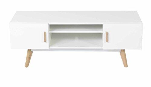Id'Click - Meuble TV chêne et laqué blanc 2 portes 1 niche Scandie