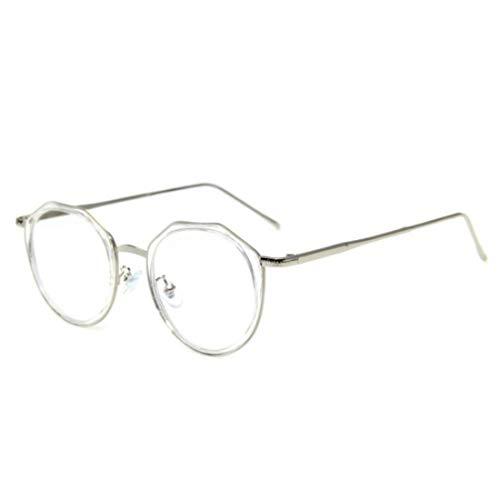 Sakuldes Fashion Round Eyewear Clear Lens Glasses Unisex Nicht Verschreibungspflichtige Brille for Frauen Männer (Color : Clear)