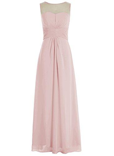 Bbonlinedress Robe de demoiselle d'honneur robe de soirée chiffon longueur ras du sol Blush