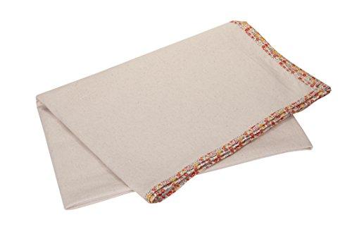 KANYOGA 100% Natural Cotton White FloralPrint Edged Multi Purpose Exercise-Yoga-Travel Blanket (150...