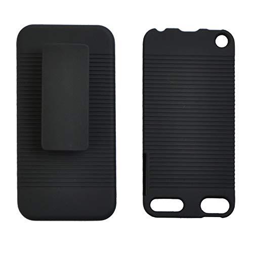 lujiaoshout Schwarz gummierte Hard CASE + Klip Combo für iPod Touch 5 5. GEN Combo Schwarz Ipod Touch Holster