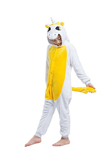 DarkCom Kinder Kigurumi Strampelanzug Pyjamas Tier Cosplay Kostüme Cartoon Jumpsuit Nachtwäsche Gelbe Einhorn (Strampelanzug Pyjama Mädchen)