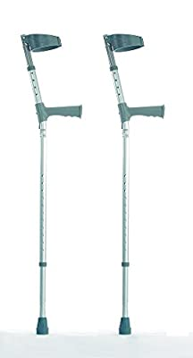 NRS Healthcare Double Adjustable Crutches with Plastic Handle - Medium - Pair