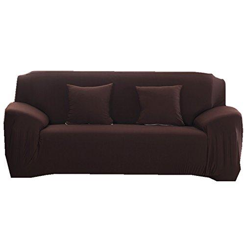 Sofa Bezug 1234-Sitzer-Stoffüberwurf, Schonbezug, elastischer Überwurf für Sofa, Sessel, Couch zum Schutz, Farbe: pure, coffee, 3 Seater:190-230cm