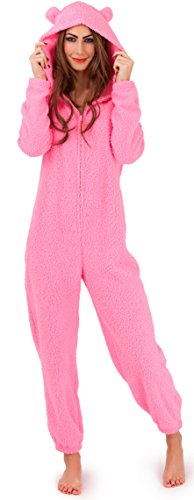 - 31k2BacfdtL - Womens Ladies Supersoft Hooded Onesie Onezee Snuggle Cosy Teddy Bear Bunny, Pink or Cream
