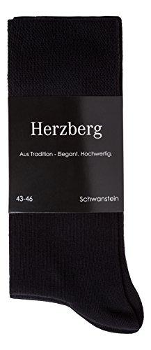 Herzberg Business Socken Damen/Herren Baumwolle, 5 Paar, schwarz, Größe 43-46