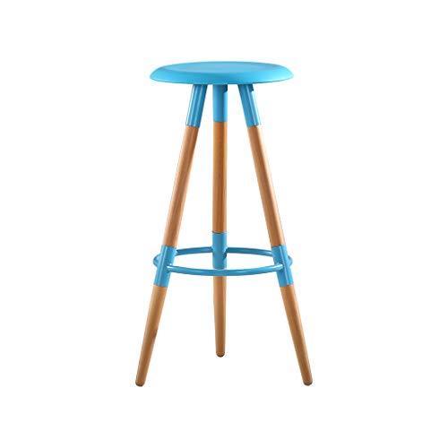 ZOYO Barhocker für die Küche, Barhocker für Garage, Holzbarhocker für Küche, Insel, Barhocker für Shop, Höhe 73,9 cm, bunt und natürliche Holzfarbe blau -